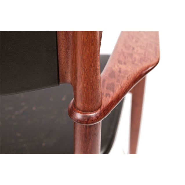 Teak & Leather Arm Chairs - A Pair For Sale In Washington DC - Image 6 of 7