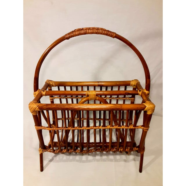 Mid-Century Modern Vintage Mid Century Modern Franco Albini Style Rattan & Bamboo Magazine Rack For Sale - Image 3 of 8