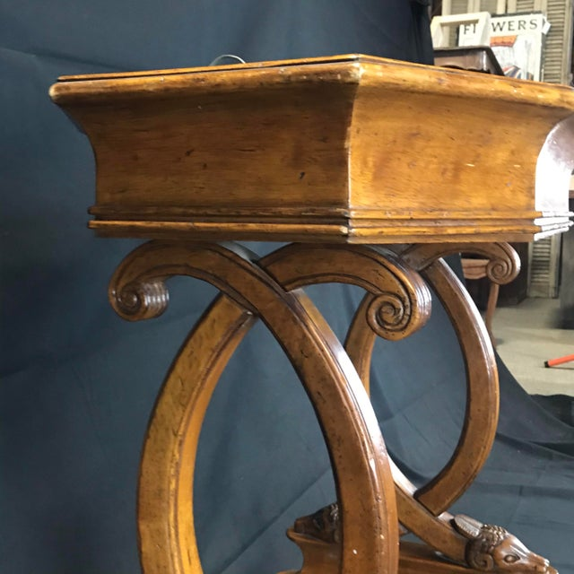 Antique French Hand Carved Sheepshead Walnut Planter Table For Sale - Image 9 of 11
