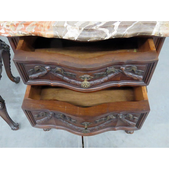 Mahogany Louis XV Style Marble Top End Tables For Sale - Image 7 of 10