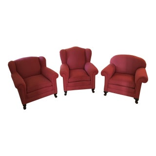 1930s Vintage Red Chairs- Set of 3 For Sale