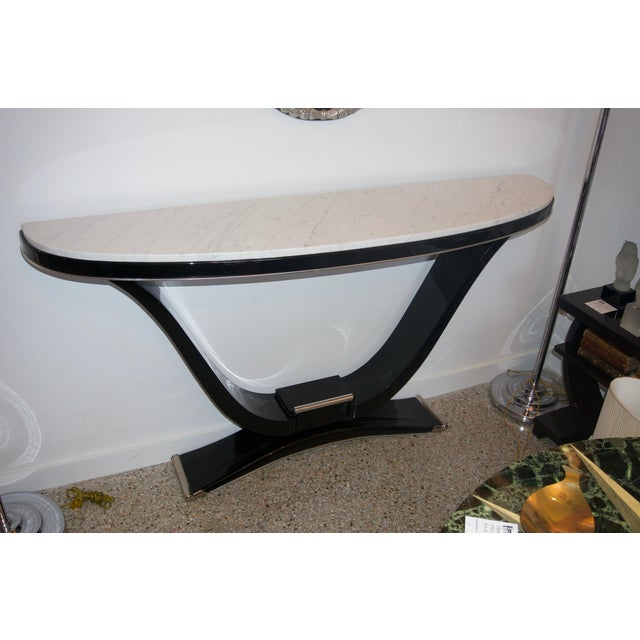 Black Black and Silver Console and Mirror From South Beach - 2 Pc. Set For Sale - Image 8 of 12
