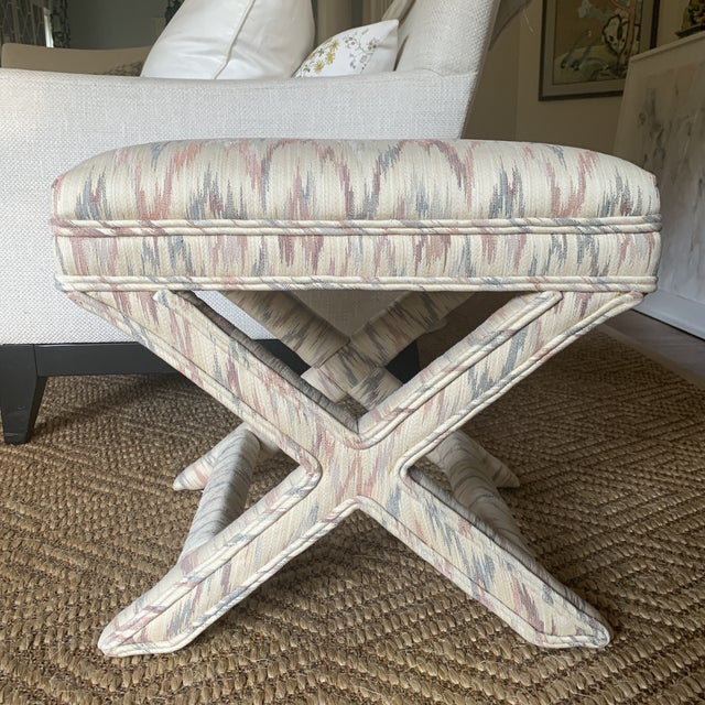 Vintage Weiman Upholstered X Bench For Sale - Image 13 of 13