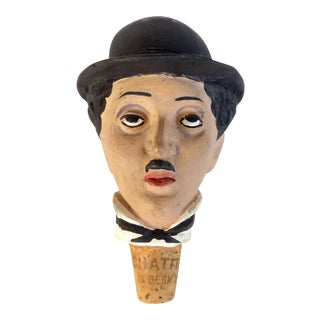 German 1950's Charlie Chaplin Ceramic Bottle Stopper by Achatit Werkstaetten For Sale