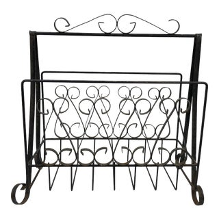 Vintage Twisted Wrought Iron Magazine Rack / Holder For Sale