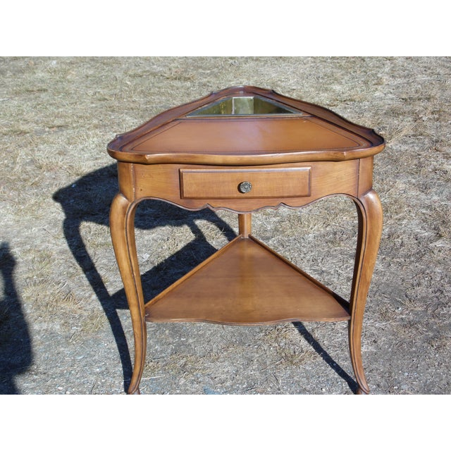 Brown Vintage French Style Leather Top Triangle End Tables - A Pair For Sale - Image 8 of 12