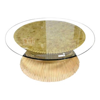 Vintage McGuire Modernist Wheat Sheaf Rattan Coffee Table For Sale