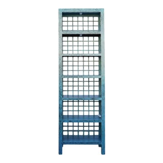 Chinese Distressed Blue Display Bookcase Cabinet For Sale