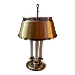 Three Armed French Bouillotte Style Table Lamp With Brass Gallery Tole Shade For Sale
