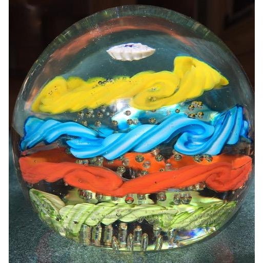 Art Glass Brilliantly Colored Italian Art Glass Paperweight From 1970s For Sale - Image 7 of 7