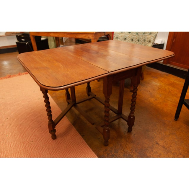 20th Century Traditional Oak Barley Twist Gate Leg Drop Leaf Table For Sale - Image 11 of 11