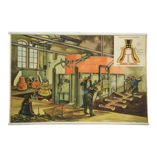 German Bell Foundry School Poster, 1960s For Sale