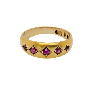 Victorian 18k Gold Birmingham England Ruby Ring / Band 1884 For Sale