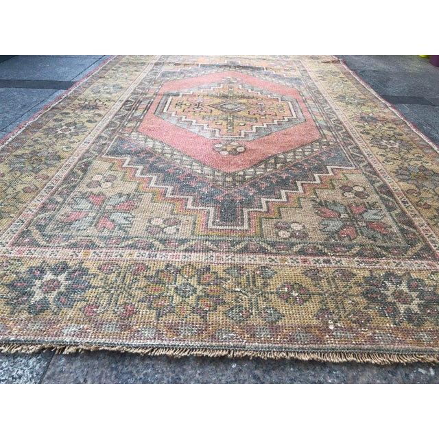 Gold Handwoven Antique Turkish Wool Rug - 3′7″ × 5′11″ For Sale - Image 8 of 10