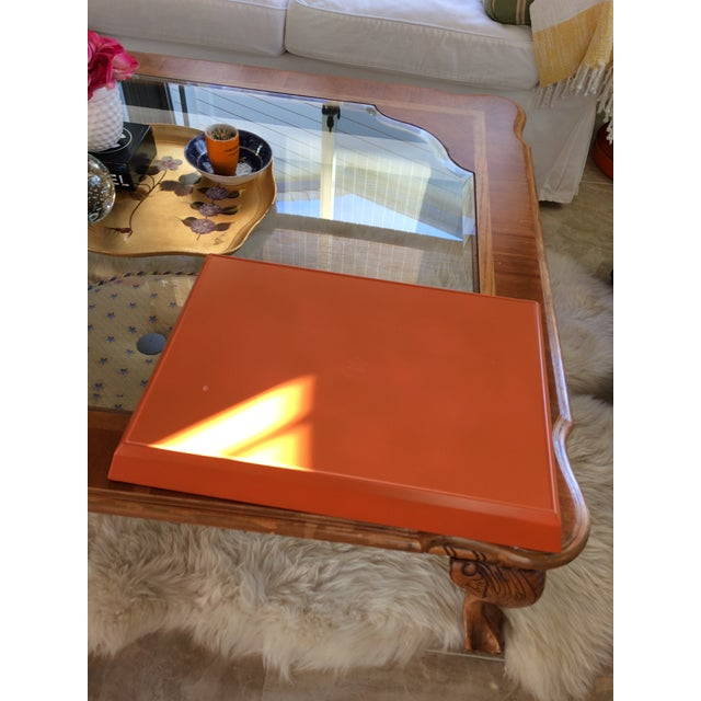 Mid Century Modern Orange and Espresso Bar Tray For Sale - Image 9 of 13