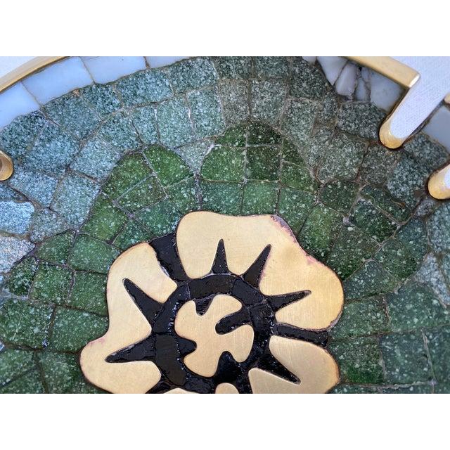 Salvador Teran Mid 20th Century Salvador Teran Brass and Glass Tile Bowl For Sale - Image 4 of 6