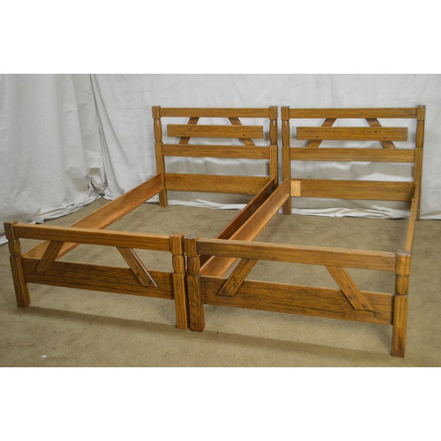 Brandt Ranch Oak Rustic Pair of Sawbuck Twin Beds - a Pair For Sale - Image 11 of 13