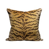 Image of Scalamandre Tigre Pillow, Ivory, Gold, Black For Sale