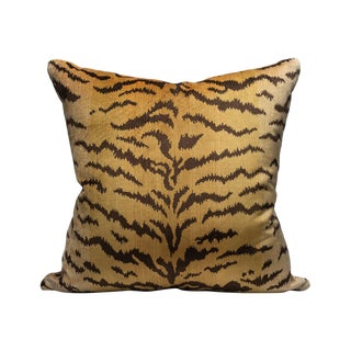 Scalamandre Tigre Pillow, Ivory, Gold, Black For Sale