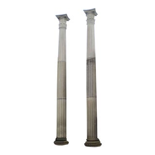 Tall Limestone Columns With Doric Capitals - a Pair For Sale