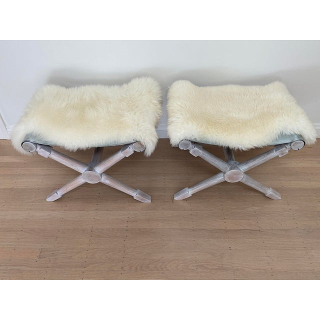 Mid-Century Modern Cerused Finish X-Bench - a Pair For Sale In San Francisco - Image 6 of 13