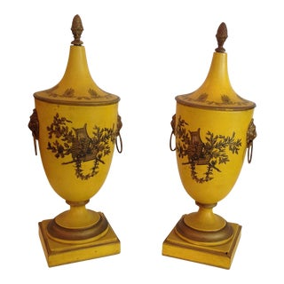 Pair of Mustard Colored Italian Covered Tole Urns For Sale