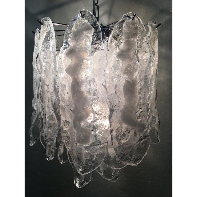 Italian White and Transparent Murano Glass Chrome Metal Frame Sputnik Chandelier For Sale - Image 9 of 12