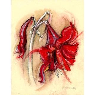 """Amaryllis 2"" Original Botanical Mixed Media Drawing on Handmade Paper For Sale"