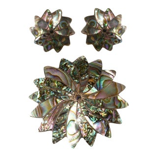 Mexican Sterling Silver Abalone Brooch Earrings Set Marked Icm Vintage 1940s For Sale