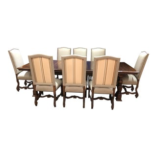 Alfonso Marina Ebanista Table and 8 Kreiss Dining Chairs- 9 Pieces Plus Leaf For Sale