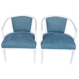 1960s Vintage Hollywood Regency Faux Bamboo Chairs - a Pair For Sale
