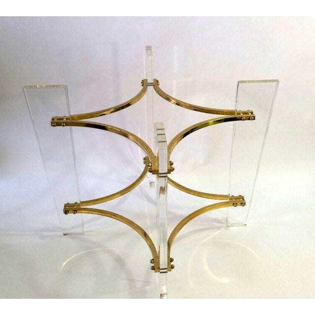 Vintage 1970's Lucite, Brass & Glass Coffee Table For Sale - Image 11 of 11