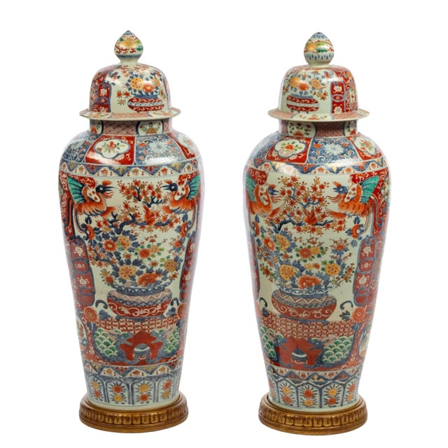 Japanese Imari Porcelain Covered Jars - a Pair For Sale