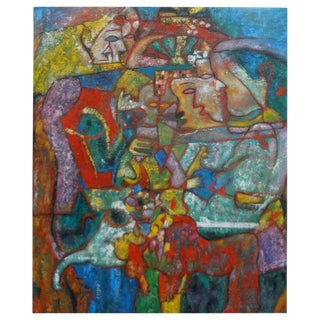 Mid-Century Abstract Oil on Canvas Painting For Sale