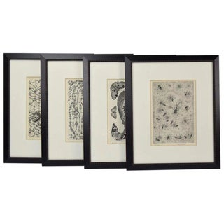 """1990s Arts and Crafts Illustrations, """"Bestiarie"""" - Set of 4 For Sale"""