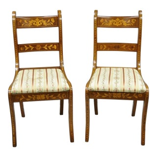 19th Century Satinwood Dutch Marquetry Inlay Regency Continental Side Chairs- A Pair For Sale