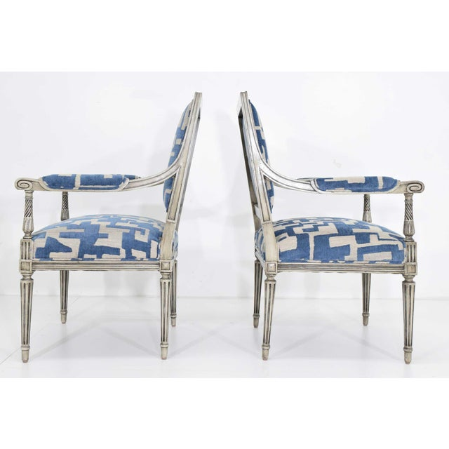 Late 19th Century Louis XVI Style Lounge Chairs in Blue/Taupe - a Pair For Sale - Image 5 of 11