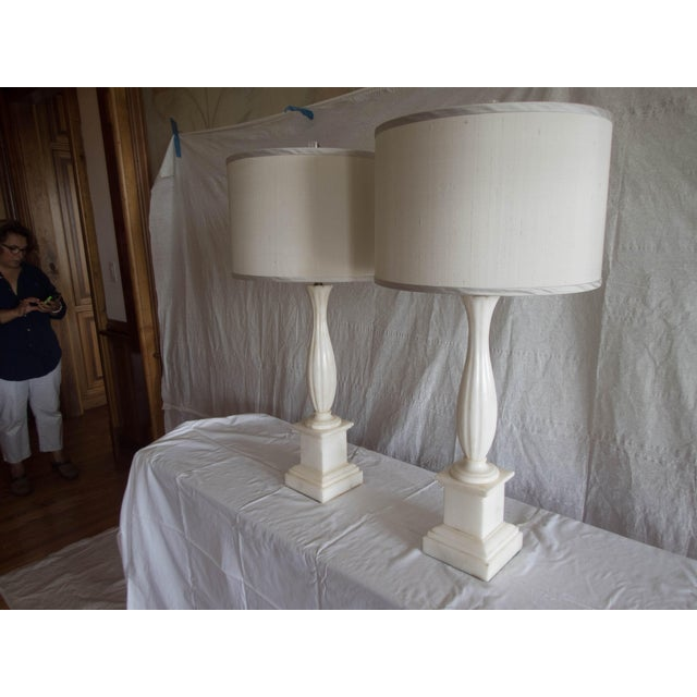 """French Antique Alabaster Lamps (Pr.) Tall Elegant Fine-Lineation 33"""" Gray Shades (new) Excellent For Sale - Image 3 of 8"""