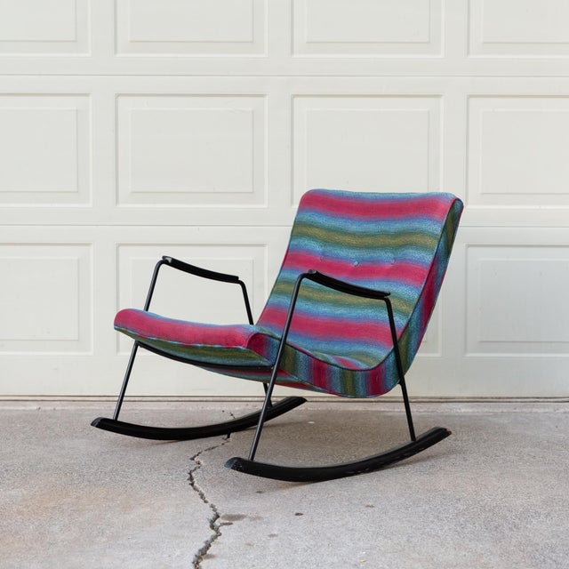 """Rare Milo Baughman Pacific Iron Works """"Scoop"""" Rocking Chair. Hard to find form, colorful original example. Condition: The..."""