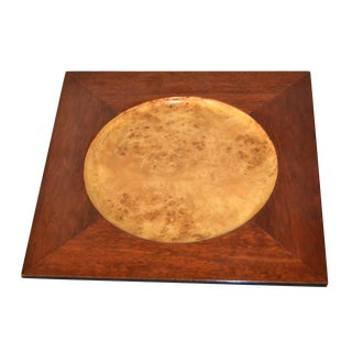 Signed Vintage Decorative Burl Wood Over Mahogany Plate, Centerpiece For Sale