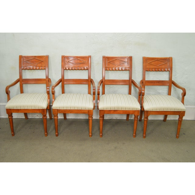 Lexington Regency Style Set of 4 Cherry Wood Arm Chairs For Sale - Image 5 of 10