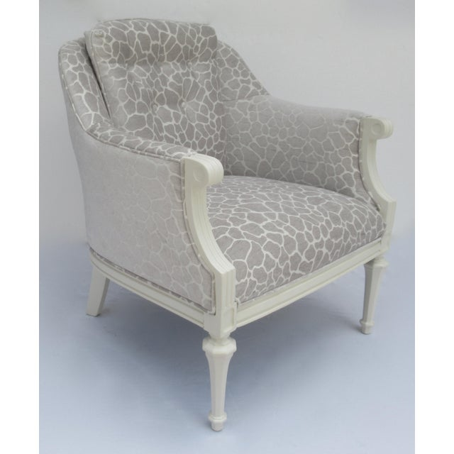 Boho Chic Final Markdown -Dorothy Draper Hollywood Regency Club Chair With Giraffe Chenille For Sale - Image 3 of 13