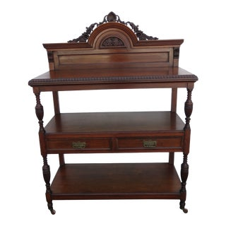 Carved Victorian 1800s Server Buffet Sideboard Bar For Sale