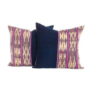 Vintage Indigo Ikat Pillows - A Pair For Sale