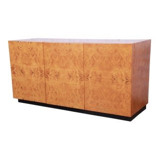 Milo Baughman Burled Olive Wood Sideboard Credenza, Newly Refinished For Sale
