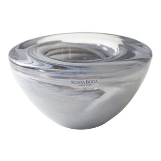 Kosta Boda Atoll Glass Votive Candle Holder Gray Swirl Art Glass Anna Ehrner