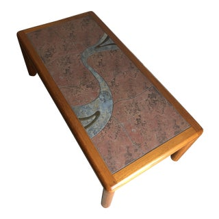 Vintage Mid Century Modern Danish Tile Top Coffee Table by Haslev For Sale