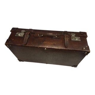 Vintage Textured Leather Suitcase For Sale