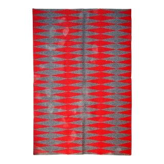 1950s handmade vintage Swedish flat-weave kilim 5.5' x 7.6' For Sale