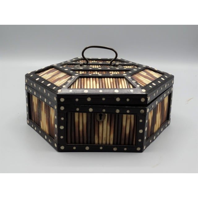 Antique Porcupine Quill Hexagonal Box For Sale In Houston - Image 6 of 7